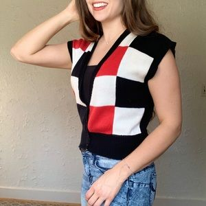 Checkered Vintage Sweater Vest